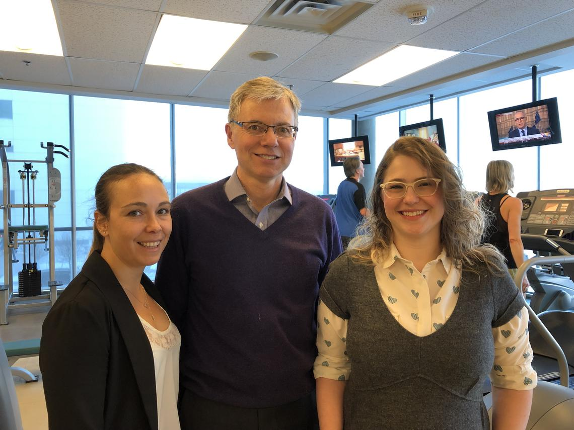 (L-R) Dr. Veronica Guadagni, PhD, Dr. Marc Poulin, PhD, and Dr. Lauren Drogos, PhD, members of the study team.