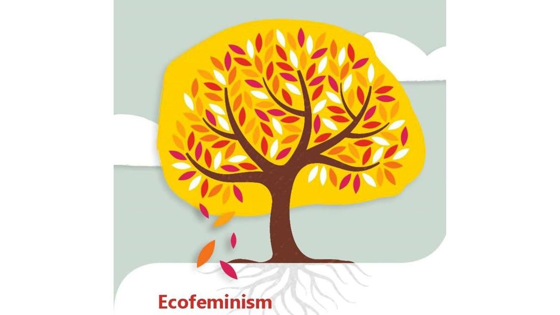 illustration of tree with falling leaves and words Ecofeminism