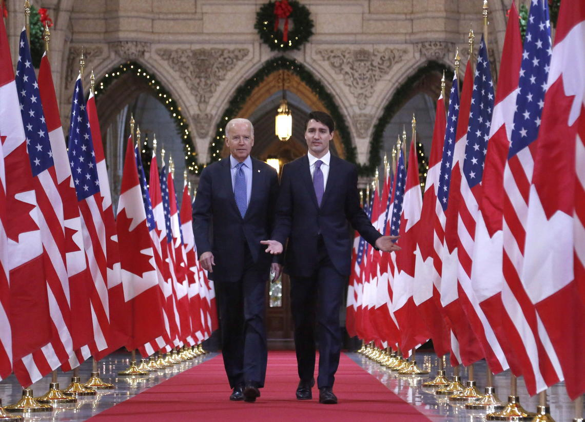 Prime Minister Justin Trudeau and Joe Biden, U.S. vice president at the time, in Dec. 2016.