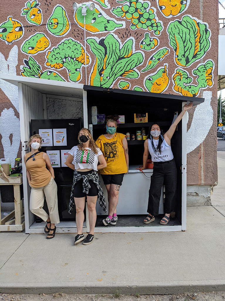 Community fridge organizers, from left: psychology undergraduate student Sasha Lavoie and fellow organizers Jennifer Jetté, Megan Kirk and Alice Lam.