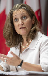 Deputy Prime Minister and Minister of Finance Chrystia Freeland responds to a question during a news conference on Aug. 20, 2020 in Ottawa.