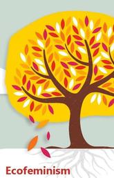illustrated image of tree with falling leaves and word Ecofeminism
