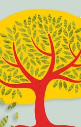 Illustration of tree with leaves falling