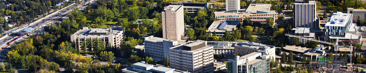 Aerial shot of University of Calgary campus on a sunny day