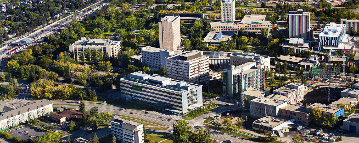 An aerial photo of the University of Calgary campus