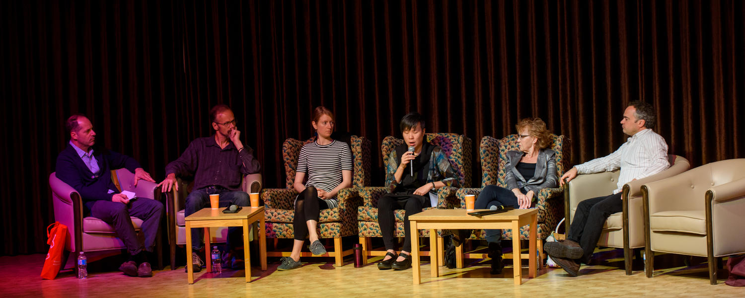 Canadian Writers-in-Residence at the Reunion Festival in 2016: Peter Oliva, Richard Harrison, Deborah Willis, Larissa Lai, Rosemary Nixon, and Marcello Di Cintio