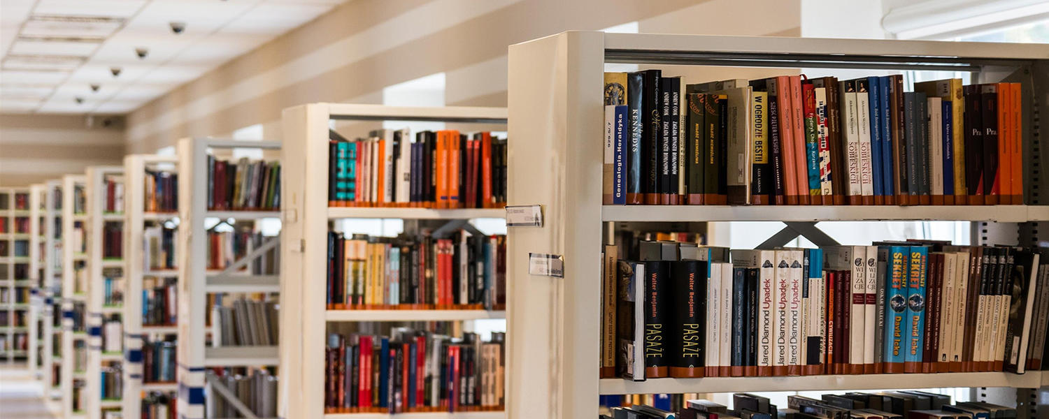 row of bookshelves in library
