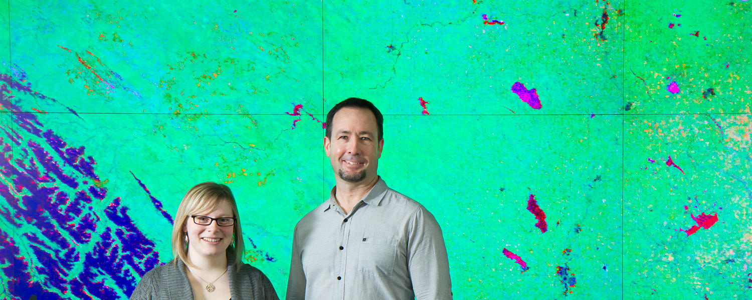 Greg McDermid and Jennifer Hird mapping Alberta's landscape