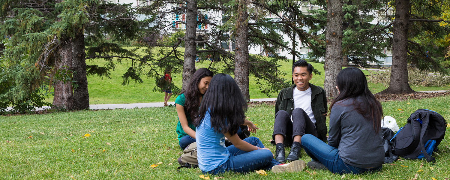 UCalgary students on the lawn