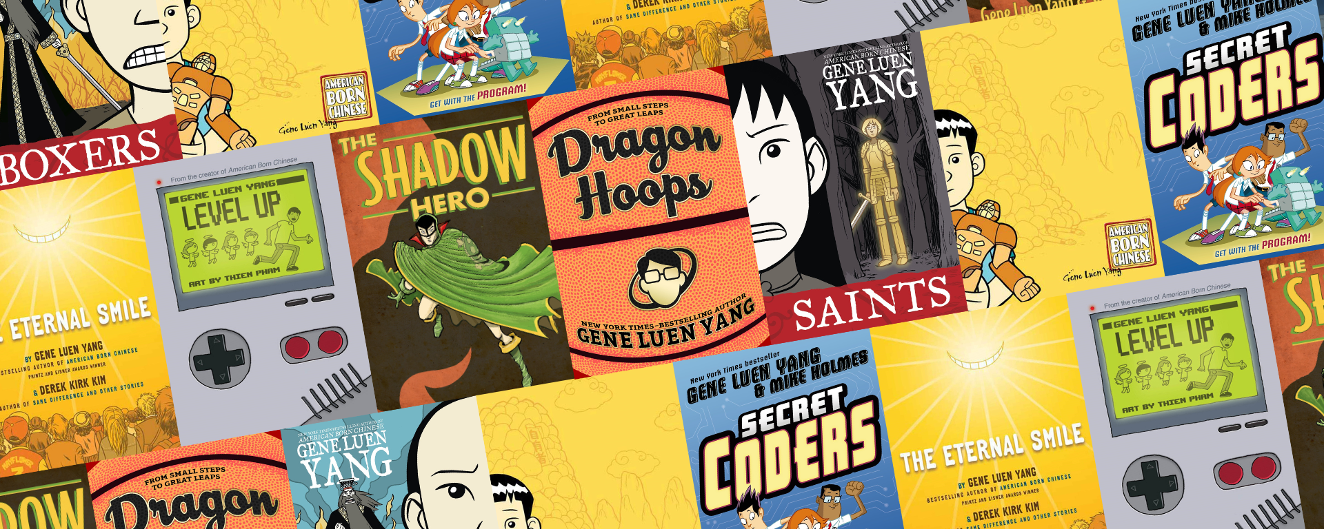 Collage of book covers by Gene Luen Yang.