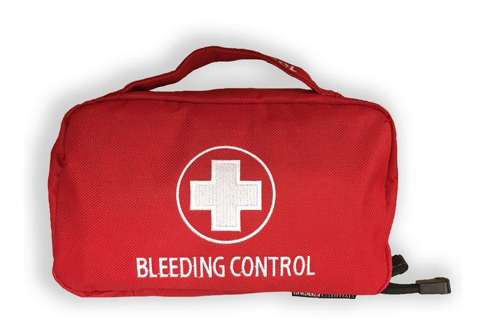 Emergency bag with the words Bleeding Kit on the side