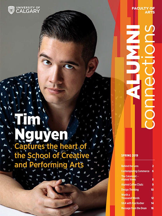 Cover of 2019 Alumni Connections insert featuring Tim Nguyen