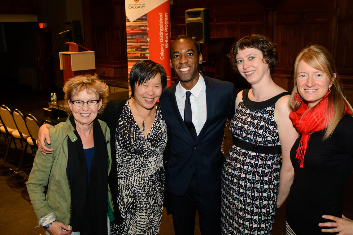 Former Ws-i-R Rosemary Nixon, Larissa Lai, Ian Williams, Sara Tilley, and Deborah Willis. Photo by Monique de St. Croix.