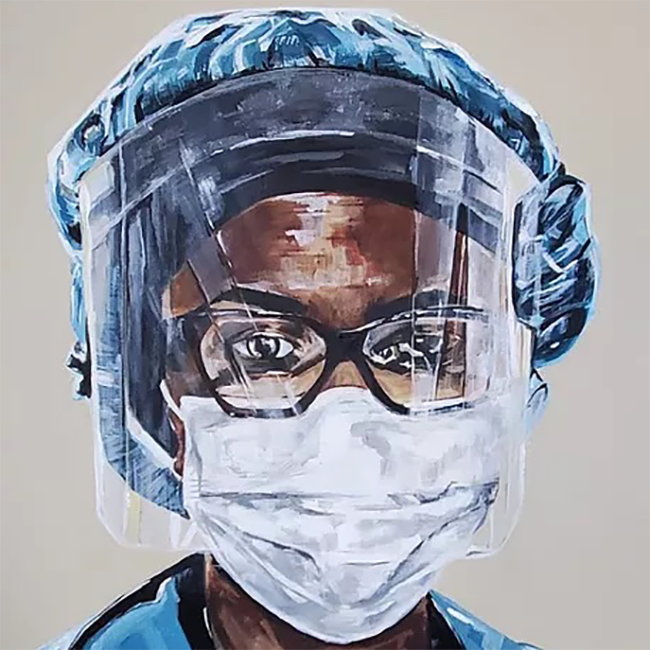 Painting of a Black woman wearing scrubs, a face mask and a face shield