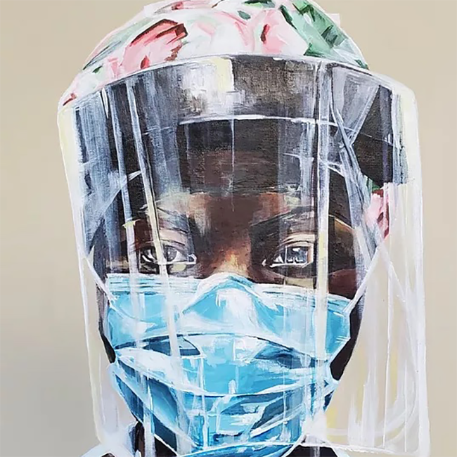 Painting of a Black person wearing scrubs, a face mask and face shield