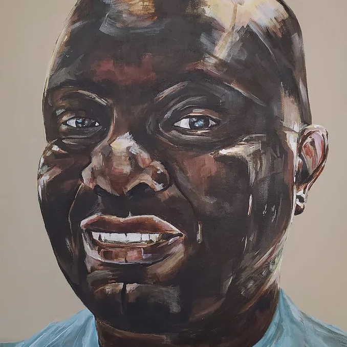 Painting of a Black man wearing hospital scrubs
