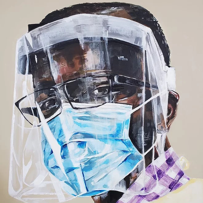 Painting of a Black man in dress shirt and sweater wearing a face mask and shield