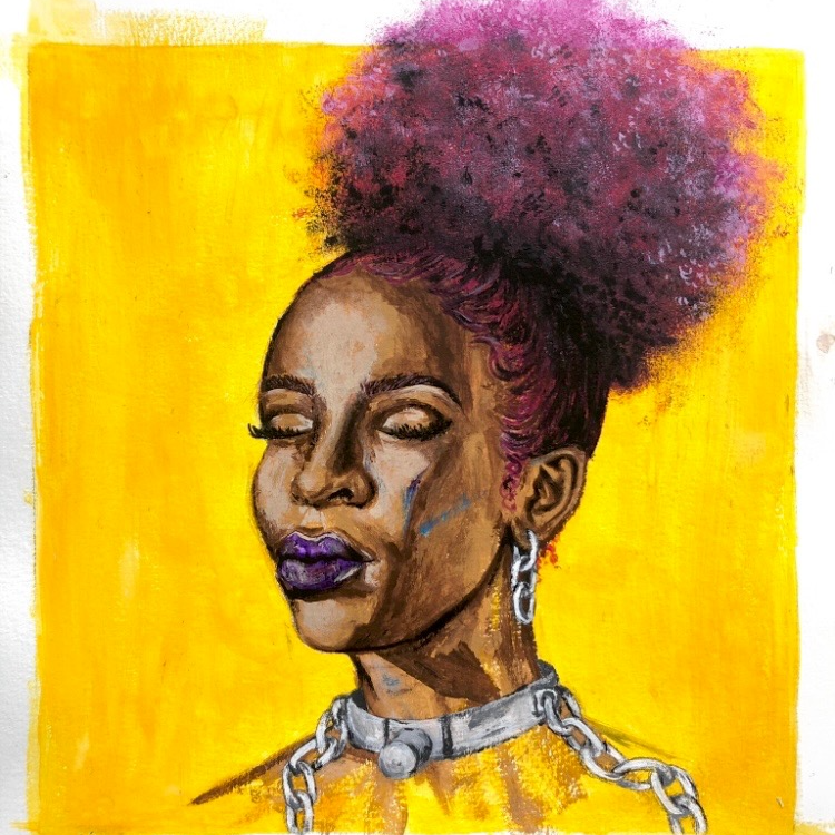 Painting of a black woman wearing a metal collar around her neck