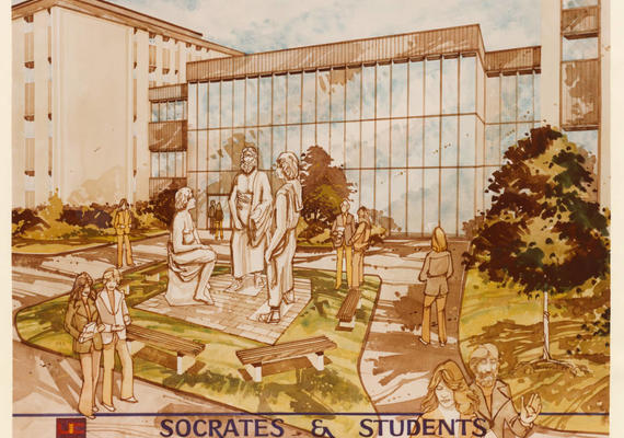 Archival UCalgary graphic featuring Socrates and students