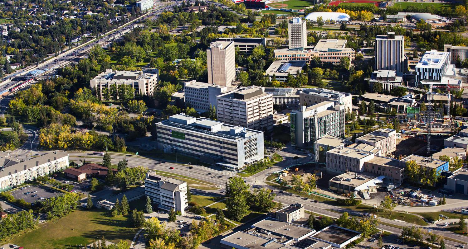 Aerial photo of the UCalgary campus in summer