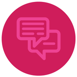 Pink chatbox icon