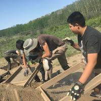High school students participate in an archaeology excavation of the Cluny Fortified Village as part of the University of Calgary's Program for Public Archaeology and its Aboriginal Youth Engagement Program.