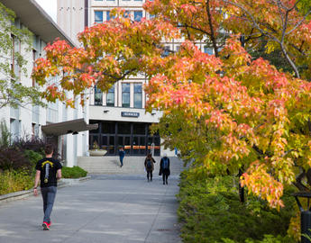 Fall foliage in front of the sciences complex