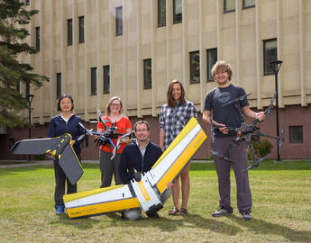 Geography students with drones