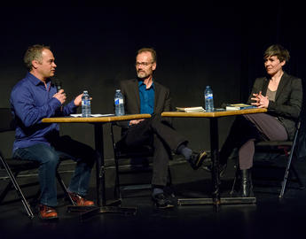 Past Canadian Writers-in-Residence Marcello Di Cintio, Richard Harrison, and Oana Avasilichioaei, 2018. Photo by Monique de St. Croix.